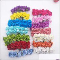 Декоративные цветы венки праздничные принадлежности Home Garden72PCS / Лот 2см Диаметр Искусственная бумага Цветочная головка мини-Mticolor розовый букет для
