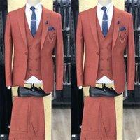 Men's Suits & Blazers 3-Piece Men Custom Made Fit Slim Plaid One-button Cotton Blend Party Formal Wear Business Suit For Man