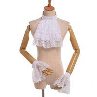 Vintage Noble Princess Cosplay Lace Blanco Jabot Muñecas Muñecas Victorian Detachable Ruffle Cuello Puños de pulsera de alta calidad Designer de envío rápido Lujo