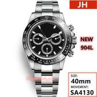 Top Quality JH Maker WristWatches à prova d'água 40mm cosmógrafo funcionando 904L aço inoxidável cronógrafo ETA 4130 Movimento automático mens relógio relógios