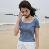2021 New solid female color thin open collar short sleeve women's T-shirts top fashion VPZN