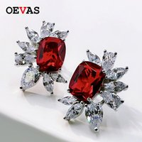Stud OEVAS 100% 925 Sterling Silver Sparkling Ruby Topaz Aquamarine High Carbon Diamond Flower Earrings Women Party FIne Jewelry
