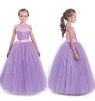 2021 Basit Mor Prenses Çiçek Kız Elbise Düğün Cap Kollu Yay Kat Uzunluk Küçük Çocuklar Bebek Abiye İlk Communion