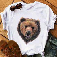 Women's T-Shirt North Bear T Shirt Cartoon Women Vintage Tshirt Summer Animal Printed Clothing Tops Cute Ulzzang White