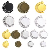Accessori per gioielli in lega FAI DA TE Time Moon Hollowed Out 360 gradi rotante Staffa inferiore a doppia faccia
