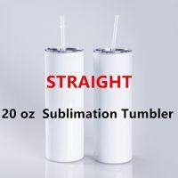 20oz 승화 텀블러 똑 바른 테이퍼 빈 흰색 텀블러 뚜껑 밀짚 304 스테인레스 스틸 진공 절연 sippy 컵