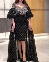 2021 Plus Size Arabic Aso Ebi Black Luxurious Sexy Prom Dresses Beaded Crystals Hi-Lo Evening Formal Party Second Reception Gowns Dress ZJ668