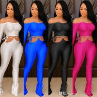 Spring Fashion Women Tracksuits Designer 2021 New Sexy Bandage One Shoulder Stacked Pants Two Piece Set Outfits