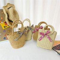 Sweet Princess Accessories Children's Messenger Purse Girls Fashion Korean Grass Woven Bag Wholesale Cute Little Pocket Gift