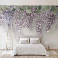 Custom Po Self Adhesive Wallpaper 3D Purple Wisteria Flower Murals Wedding House Living Room Romantic Home Decor Wall Paper Wallpapers