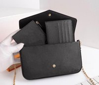 Women Shoulder bags Fashion 3pcs set Handbags Purse High Quality Leather Chain Lady bag Card holder Wallet With box