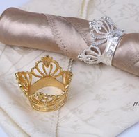 50 Pcs Crown Napkin Ring with Diamond Exquisite Napkins Holder Serviette Buckle for Hotel Wedding Party Table Decoration DWA5478