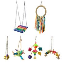 Other Bird Supplies 2021 6Pcs Parakeet Cage Toy Colorful Ladder Bell Hammock Ring Swing Cotton Rope Set Hanging Balls Wood Parrot Toys
