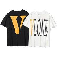 Brand Fashion Vlong Life Big V Базовый оранжевый Multi цвет с коротким рукавом Tee мужская и женская свободная футболка MRLP