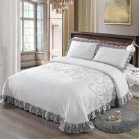 Cotone a maglia 3 pezzi Copriletto consolatore set King Queen Size Bed Cover Set Materasso Topper Coperte con federa