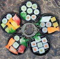 120 قطع تقليد السوشي الغذاء نموذج سلاسل المفاتيح اليابانية المطبخ مربع أقراط حقيبة قلادة طالب الإبداعية هدية مفتاح سلسلة hys41-9-6