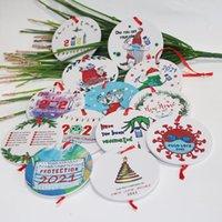 Noel Karantina Süsler Yuvarlak Şekil Noel Ağacı Kolye Santa Bir Maske Giyen Xmas Dekor Aksesuarları Süslemeleri İp ile