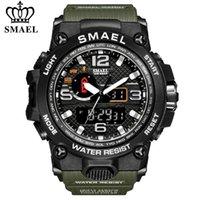 SMAEL Бренд мужской спортивные часы двойной дисплей аналоговые цифровые светодиодные электронные кварцевые наручные часы водонепроницаемый плавательный военными часами