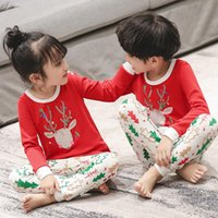 Baby mädchen kleidung weihnachten pyjamas 2 stücke tshirt + füge cartoon jungen schläfrelwäsche kinder kleidung sets baumwolle pyjamas kinder nachtwäsche