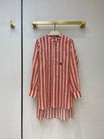 Milan pist gömlek 2021 uzun kollu standı yaka çizgili baskı tasarımcı bluzlar marka aynı stil kadın 0415-5