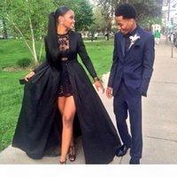 Robes de bal sexy noires 2K15 avec trop jupes à manches longues deux pièces de robe de bal dentelle sur mesure