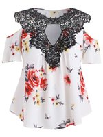 Floral Flower Print Shirts Loose Chiffon Blouse Lace Crochet...