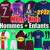 Camiseta de fútbol PSG MBAPPE KEAN 21 22 Camisetas de fútbol 2021 2022 MARQUINHOS VERRATTI KIMPEMBE hombres + kit de niños uniformes camiseta de niños cuarto de pie