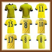 Игрок версии 2021 2022 Sweden Soccer Jersey Home Oled 21 22 Sverige Forsberg Lindelof Berg Ibrahimovic Team Футбольные рубашки Униформа Top Thai