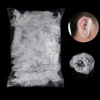 100pcs Disposable Plastic Waterproof Ear Protector Cover Caps Salon Hairdressing Dye Shield Protection Shower Cap Tool
