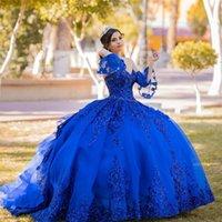 2022 Royal Blue Ball Princess Princess Quinceanera Платье с аппликациями Цветы из бисера Сторона Сладкие 16 платья Vestidos de 15 Años XV
