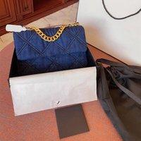 Azul Denim Boca Capa Crossbody Bag Moda Luxo Marca Rhombus Chain Chain Bolsa Simples Senhora Senhora Carteira 19 Sacos Pequeno
