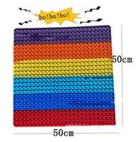 US STOCK 50 * 50cm Super Big Fidget Toys Rainbow Anti Stress Bubbles Push Sensory Toy Stress-Stress Board Jeux de la carte Réserve Squeeze Enfants Cadeaux adultes BJ21