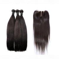인도의 머리카락 묶음 폐쇄 실키 스트레이트 버진 인간의 머리카락 폐쇄 폐쇄 3 파트 4pcs 로트 Bellahair