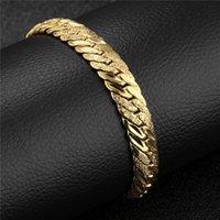Charm Bracelets 22Cm In Europe And America For Men Copper Plated 24K Golden Fashion Trend Flat Snake Bone Bracelet Jewelry