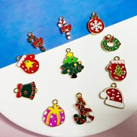 Charms 10pcs Alloy Drip Oil Christmas Series Pendant Earrings Charm DIY Jewelry Accessories Necklace Bracelet Making Designer