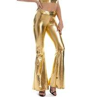 Pantaloni da donna Capris Sexy PU in pelle PU metallizzato lucido lucido flare flare donna ragazze bodycon in vita elastica campana pantaloni bottom clubwear
