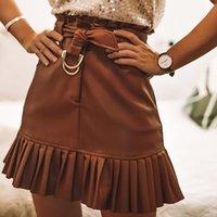Skirts Aachoae Women Chic PU Leather Pleated Skirt 2021 Ruffles Tie Belt Waist Pocket Zipper Ladies Elegnt Mini Jupe Femme