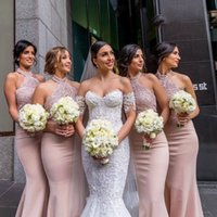 Blush Pink Mermaid Bridesmaid Dresses Sexy Halter Satin Appliques Maid Of Honor Gowns Wedding Evening Party Guests Robes