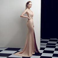 Casual Dresses Women Sexy Deep V Neck Maxi Dress Long Mermaid Bodycon Floor Length Open Back Party Sequin Sashes Vestidos