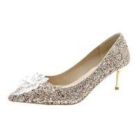 Dress Shoes 2021 Pointed Rhinestone High Heels Female Stiletto Pumps Wedding Bride Bridesmaid