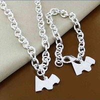 925 Sterling Silver Fashion Animal Dog Pendant Chain Necklace Bracelet Set Trendy Jewelry