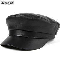 Xdanqinx натуральная кожаная шляпа элегантные дамы овчины кепки армия военные мужчины плоская осень пара черные шляпы широкий краев