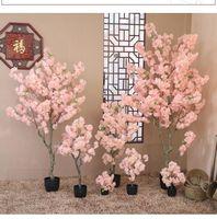 Decorative Flowers & Wreaths White Pink Color Artificial Cherry Blossom Tree With Vase For El Shop Landscape DIY Wedding Centerpieces Decora