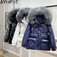 Invierno blanco pato abajo chaqueta de mujer con capucha con capucha grande cuello de piel coreano abrigo mujer globo casaco feminino inverno kj5124 parkas para mujer