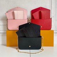 Lujos diseñadores Bolsos Original Alta calidad Felicie Handbags Wallet Backpack Bolso Bolsos Monederos Titular de la tarjeta Tote de hombro Mini Conjunto de 3 piezas con la caja de bolsas de polvo