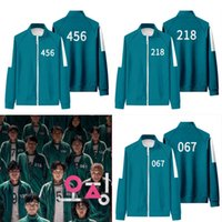 Squid Game #456 Jacket Pants 1pc Outdoor Tracksuits Men Women Party Costumes Cosplay Sports Stand collar Zipper Sweatshirt