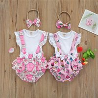 Clothing Sets Baby Girls Three-piece Clothes Set Round Collar Sleeves Tops Suspender Trousers And Headdress 0-18Months