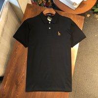 순수 솜씨 및 여름 2021 뉴 하크카 남성 솔리드 소매 티셔츠 비즈니스 캐주얼 편지 자수 옷깃 시어