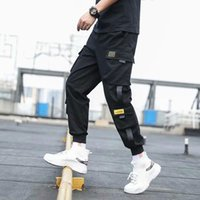 Men's Pants Mens Side Pockets Cargo Harem Ribbons Black Hip Hop Casual Male Joggers Trousers Fashion Streetwear