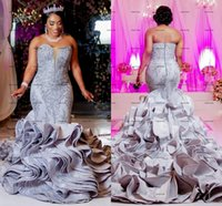 Silver Lace Aso Ebi Wedding Dresses Mermaid sweetheart Zipper Back Ruffles Satin Plus Size With Train African Princess Bridal Gowns